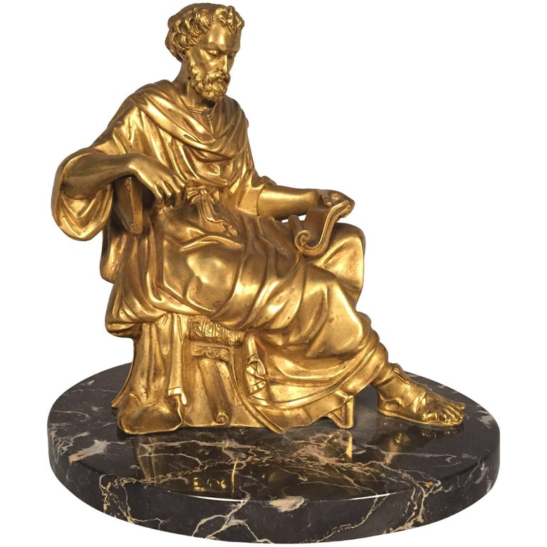 Classical Figure of a Philosopher, French, Gilt Bronze