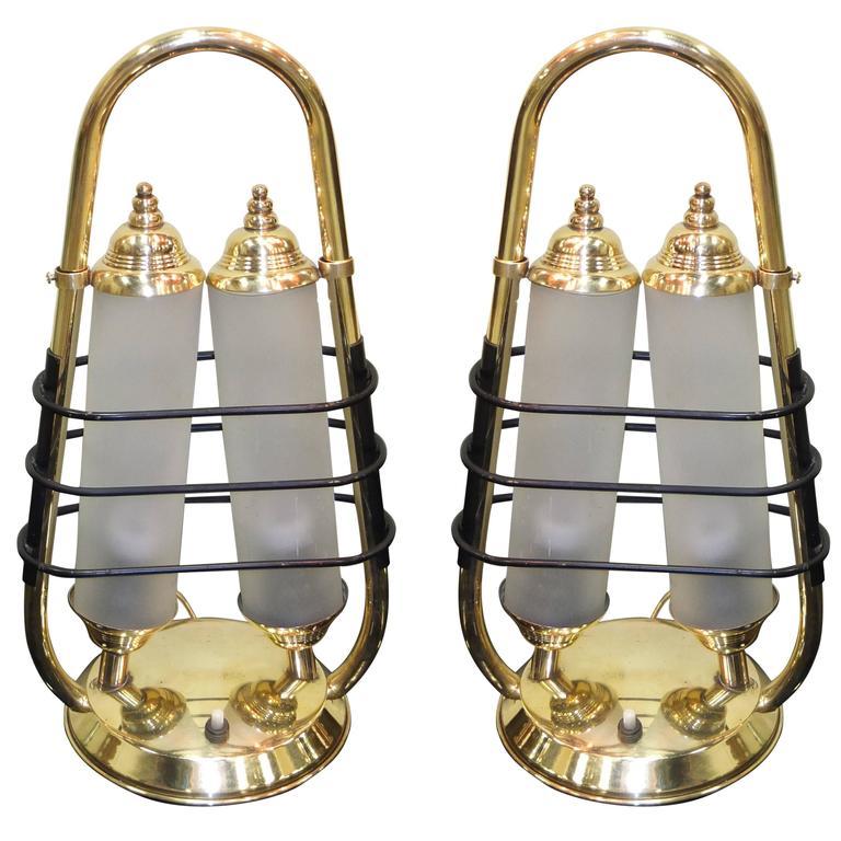 Pair of 1950s Italian Brass Table Lanterns