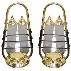 Pair of 1950s Italian Brass Table Lanterns