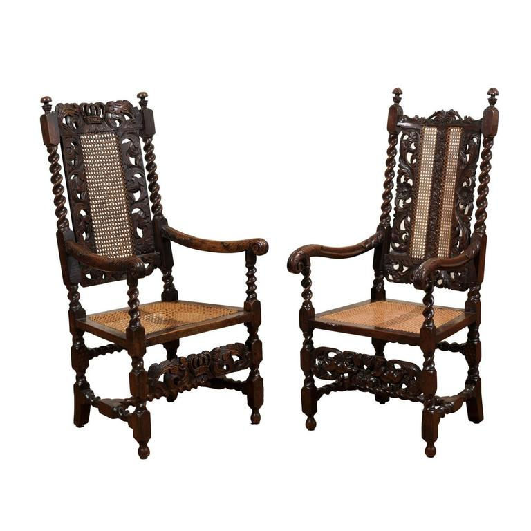 Pair of English 17th Century Barley Twist Arm Chairs For  : abp120320150717777Customorgl from www.1stdibs.com size 768 x 768 jpeg 58kB