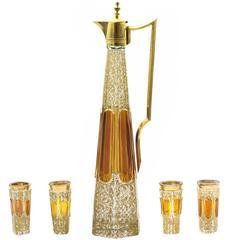 Five-Piece Enamel Glass Liquor Decanter Set by Moser