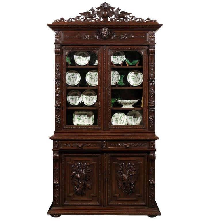 19th century henry ii style carved bookcase for sale at 1stdibs