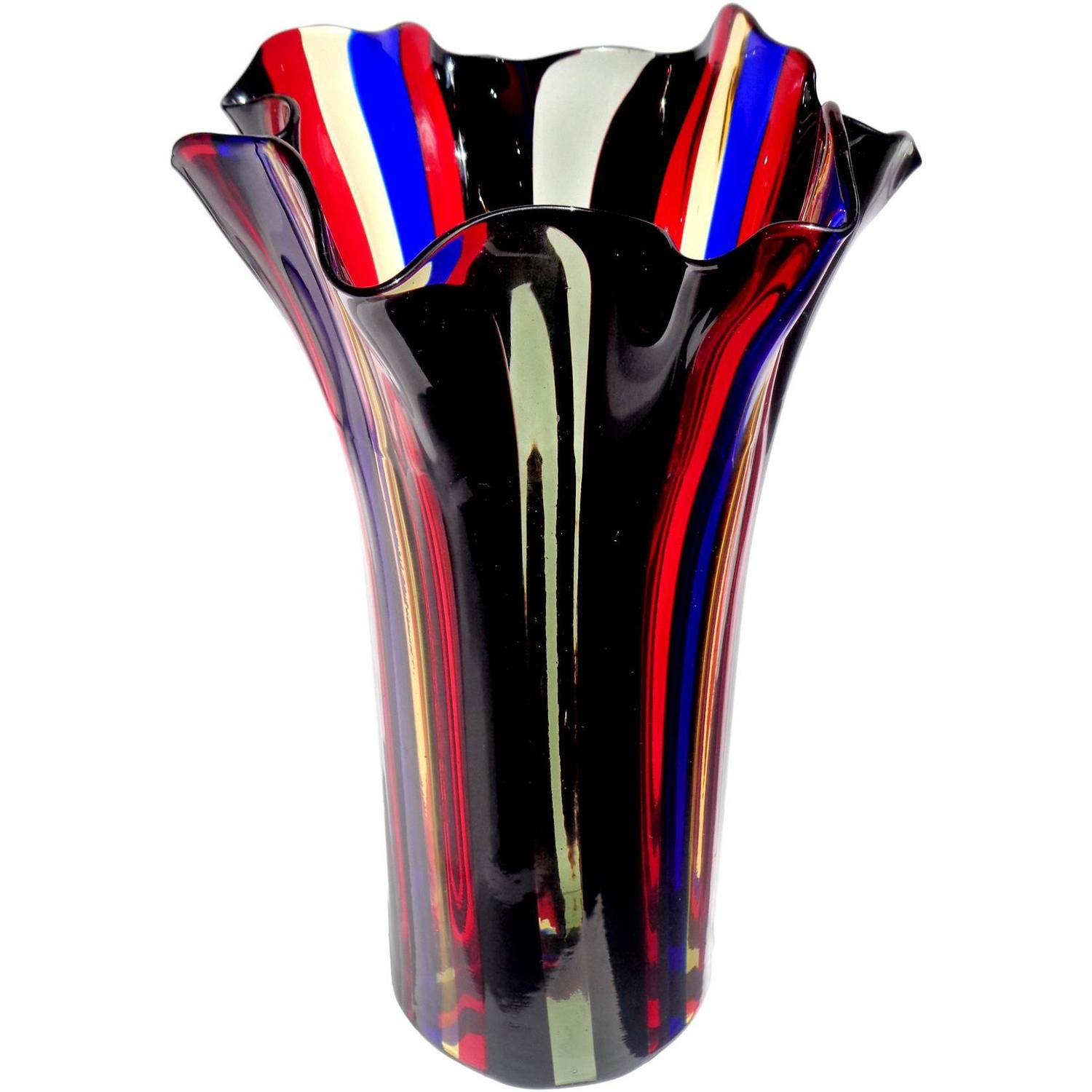 Tall blue glass vase gallery vases design picture tall mid century red and black murano cased glass vase at 1stdibs murano red blue yellow reviewsmspy