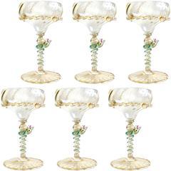 Antique Salviati Venetian Gold Flecks Green Snakes Art Glass Stemware Set