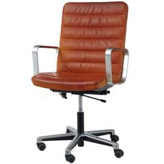 20th Century Scandinavian Modern Leather and Chrome Office Chair by Joc