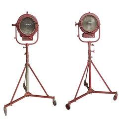 Pair of Mole Richardson Rolling Spotlights