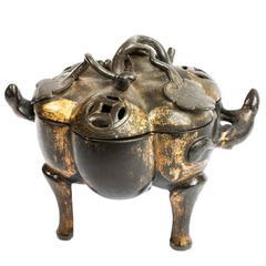 17th Century Japanese Gilt Bronze Tripod Incense Burner with Lotus