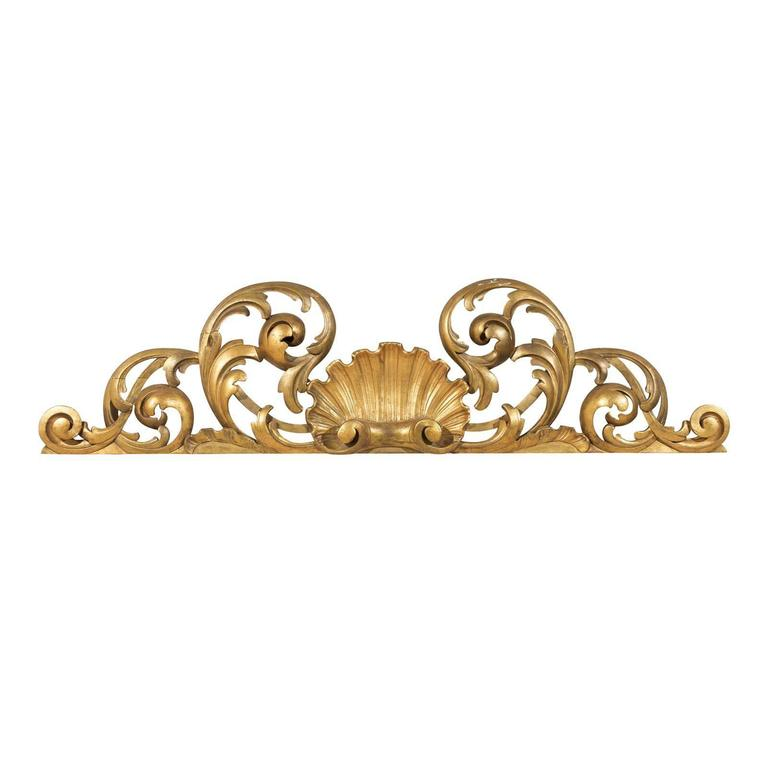 Italian Hand-Carved Giltwood Wall Decoration For Sale