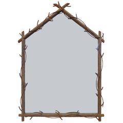 Large Welded-Steel Faux-Bois Mirror