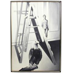 Lowell Nesbitt Oil on Canvas Studio with Eagle Painting, circa 1967