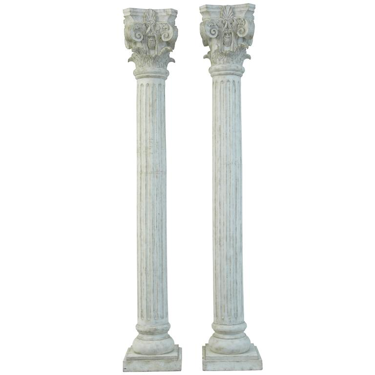large pair of decorative carved wood corinthian columns for sale