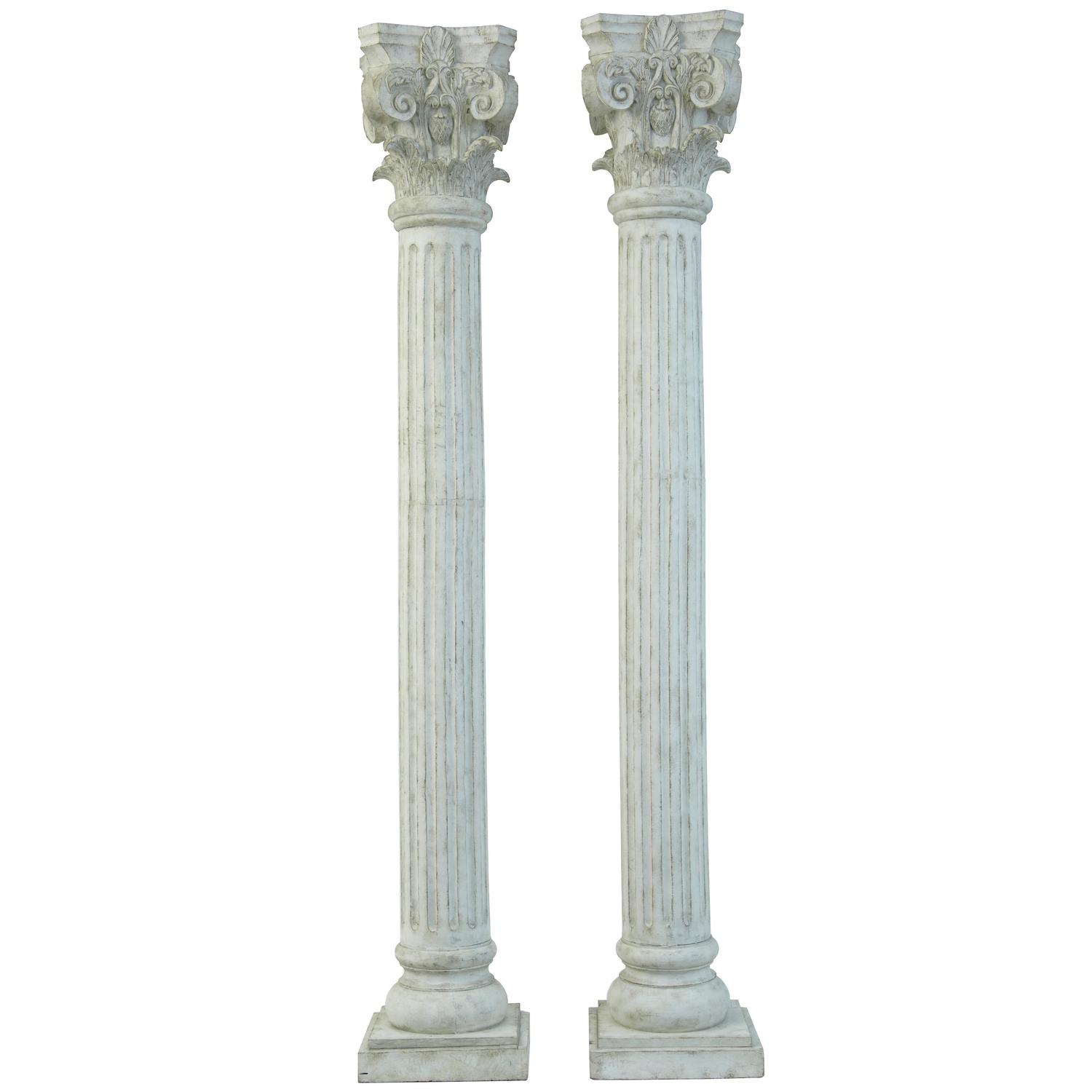 Large pair of decorative carved wood corinthian columns for Decorative columns
