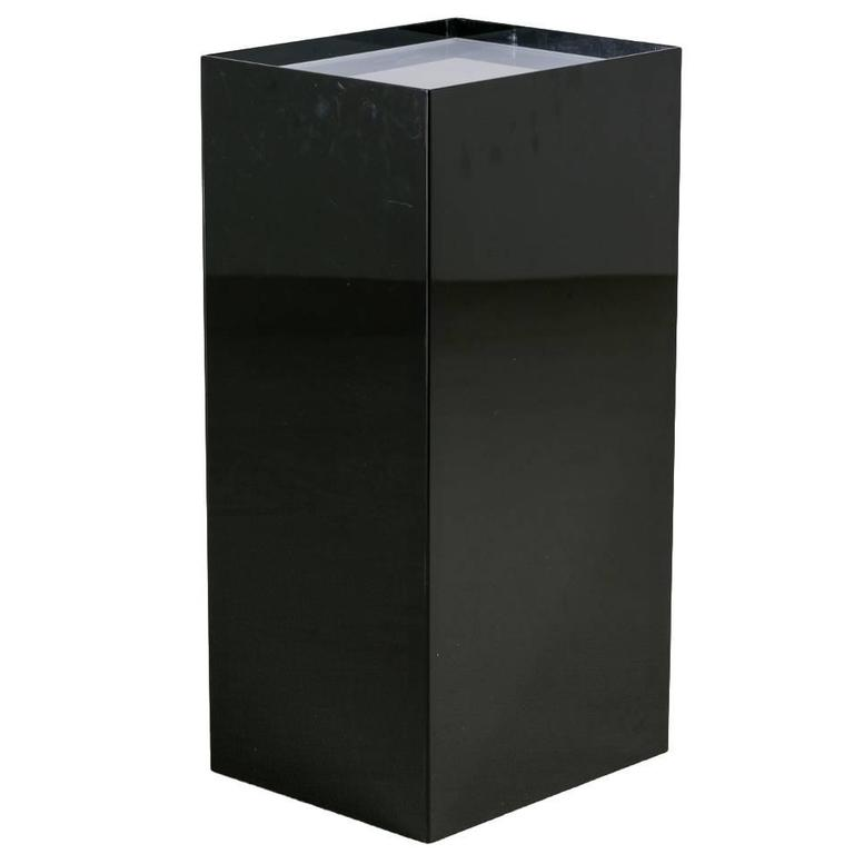 Oversized Black and Ivory Acrylic Lightbox Pedestal For Sale