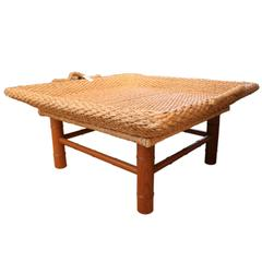 1970s Wicker Rattan Tray Table with Bamboo Style Base