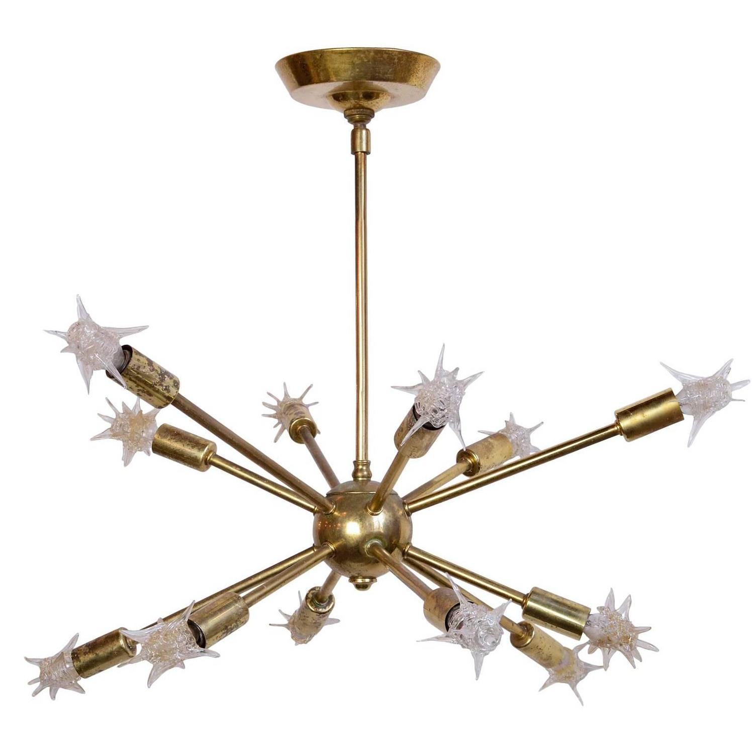 Brass 1960\'s Sputnik Chandelier with Original Starlight Bulbs at 1stdibs