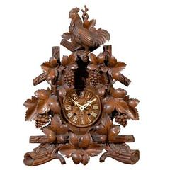 19th Century Black Forest Carved Wood Clock with Rooster and Grapes