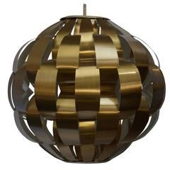 Lightolier Brass Ribbon Pendant Light