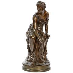 Etienne-Henri Dumaige Antique French Bronze Sculpture of Psyche