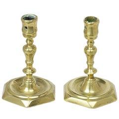 Pair of Northern European Brass Candlesticks, Probably Danish, circa 1740