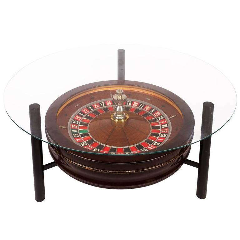20th Century Novelty John Huxley Roulette Wheel Coffee Table Circa 1980 For
