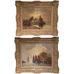 """Pair of 19th Century French Oil Paintings with Sail Boats Signed """"Granval"""""""