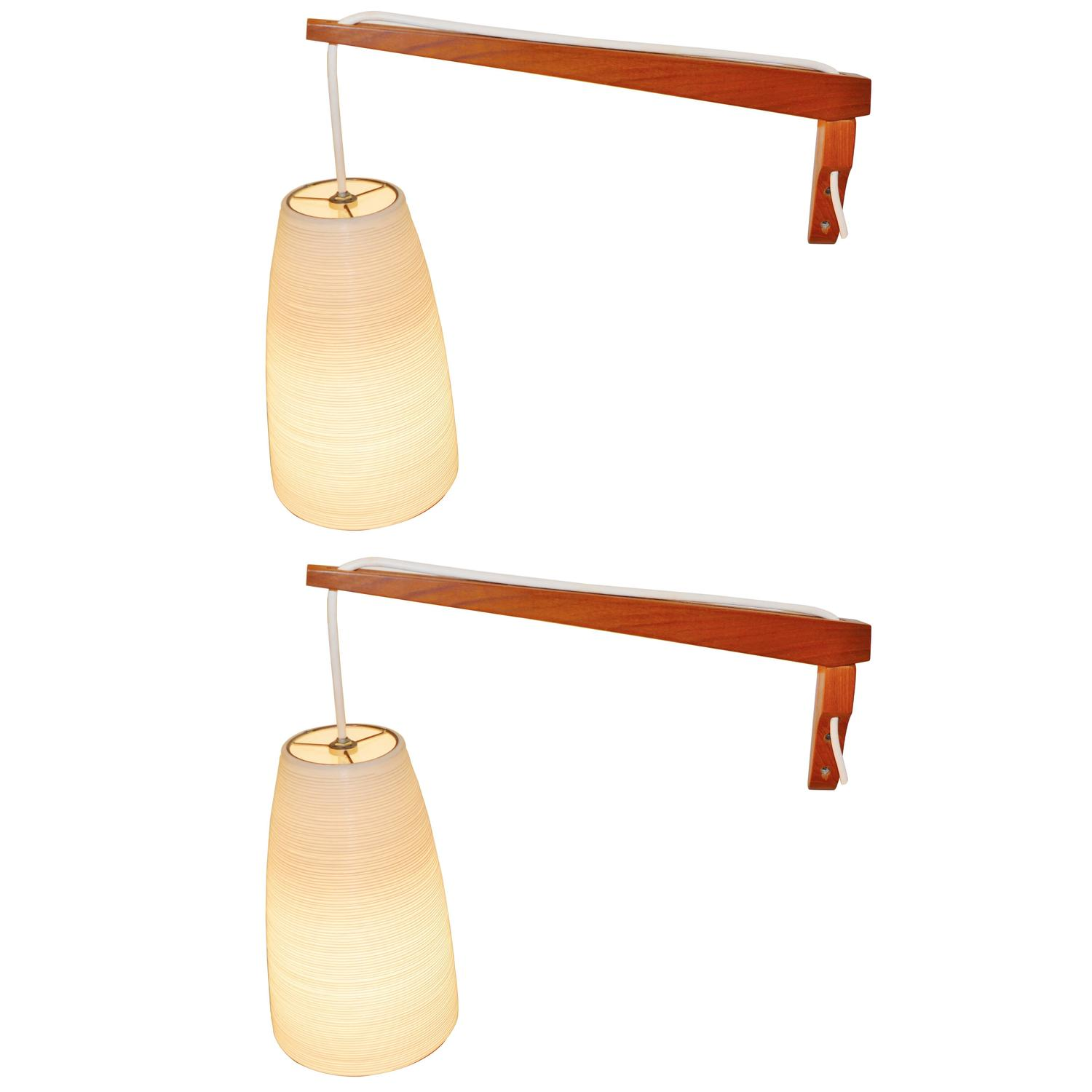 sc 1 st  1stDibs & Pair of Danish Teak Wall-Mount Lights with Lotte Pendants at 1stdibs