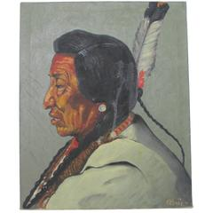 "Blackfoot ""Pecunnie"" Native American Oil on Canvas by Don Clever"