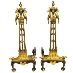Pair of Chinese Chippendale Style Gilt and Patinated Bronze Andirons