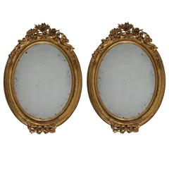 Pair of Large Mid-19th Century Carved Gilt Mirrors