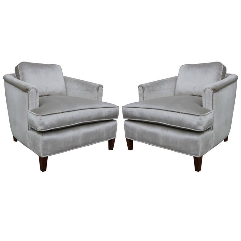 Beau Stunning Pair Of Barrel Back Lounge Chairs In Silver Grey Velvet For Sale