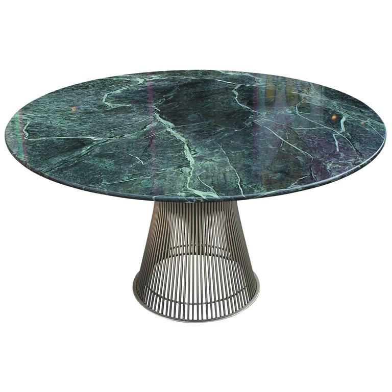 Iconic Warren Platner Dining Table With Green Marble Top For