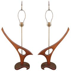 Striking Pair of Sculptural Organic Walnut Table Lamps