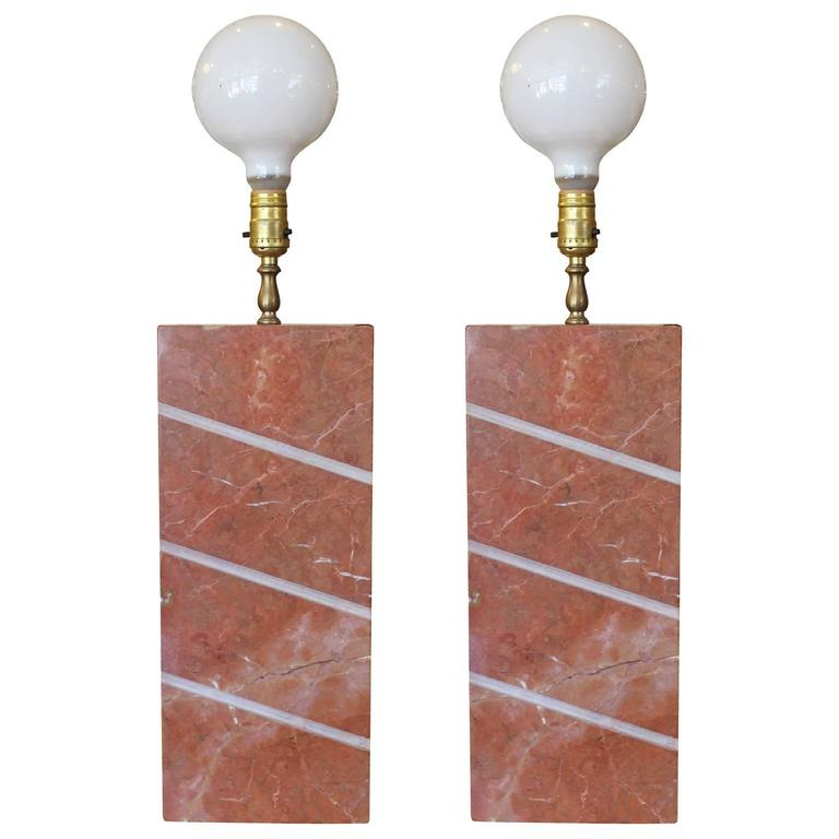 Pair of Modern Heavy Pink Marble Modern Table Lamps