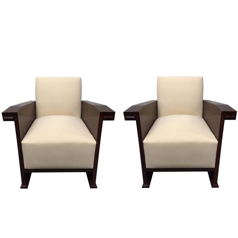 Pair of Mahogany Art Deco Style Club Chairs