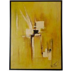Mid-Century Abstract Modern Painting, Signed by Artist