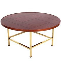 Modernist Walnut and Brass Coffee Table by Dunbar