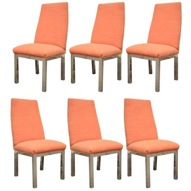 Set of 6 Chrome Parsons Style Dining Side Chairs Attributed to Milo Baughman For Sale