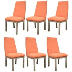 Set of 6 Chrome Parsons Style Dining Side Chairs Attributed to Milo Baughman