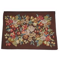 Mounted Handmad Needlepoint, Large Floral Arrangement