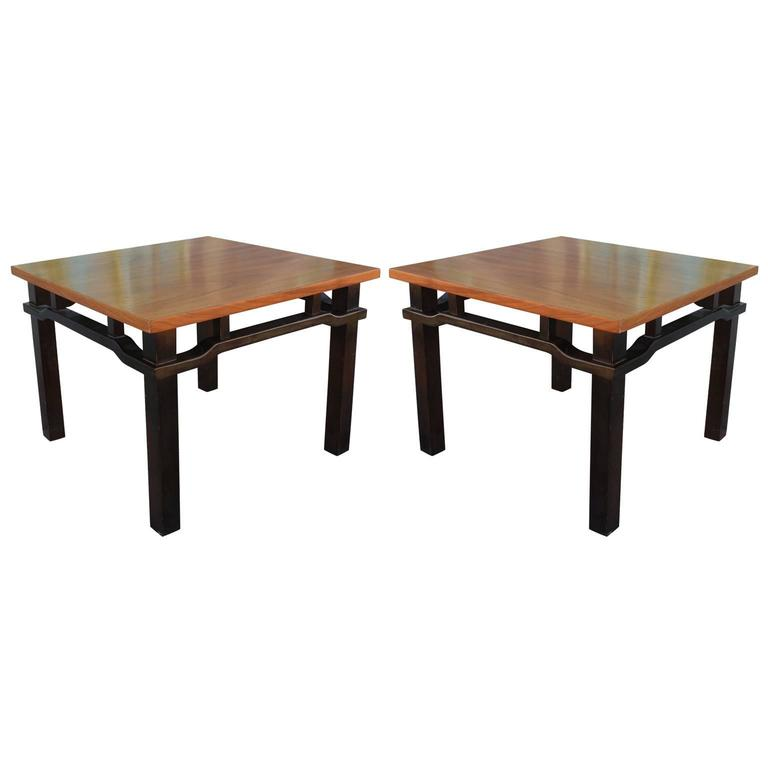 Elegant Pair of Two-Tone Walnut Mid-Century Modern Side Tables