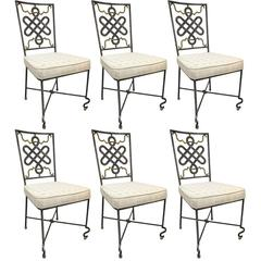Set of Six Mid-20th Century French Painted Iron Chairs with Fabric Cushions