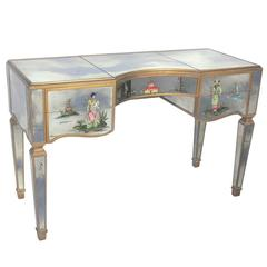 1940s Mirrored Vanity with Asian Decoration