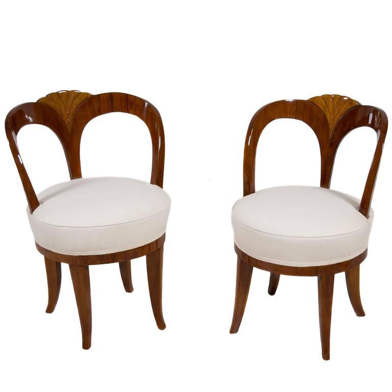 """Pair of Early 19th Century Austrian Biedermeier Ash Wood """"His and Hers"""" Chairs 1"""