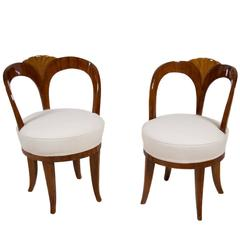 """Pair of Early 19th Century Austrian Biedermeier Ash Wood """"His and Hers"""" Chairs"""