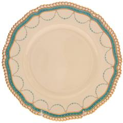 12 Turquoise Jeweled Antique English with Gold Beading Dinner Plates