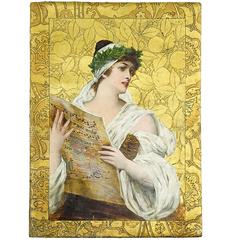 Exquisite Craftsmanship Gilt Leather Folio with Hand Painted Musical Maiden