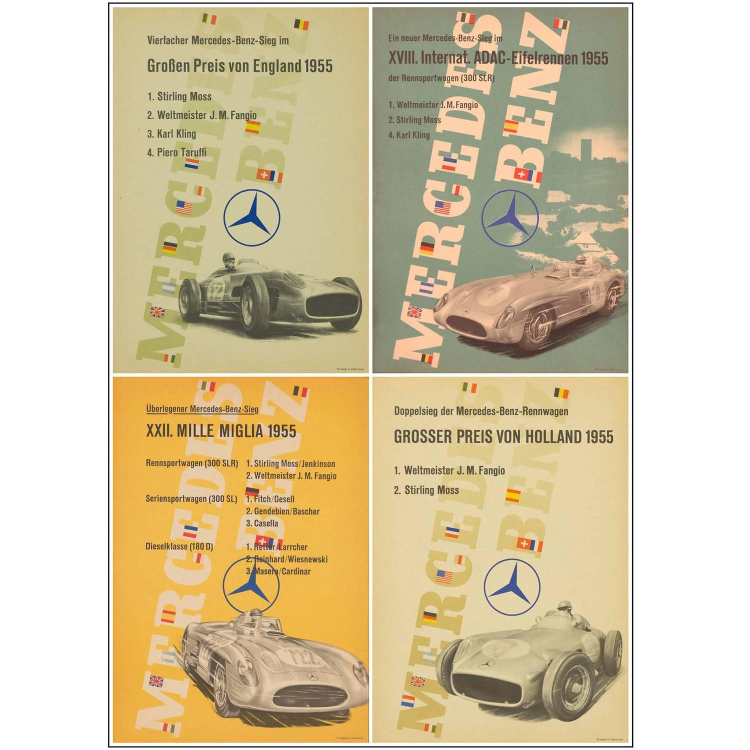 Set of four mercedes benz victory posters for sale at 1stdibs for Mercedes benz wall posters