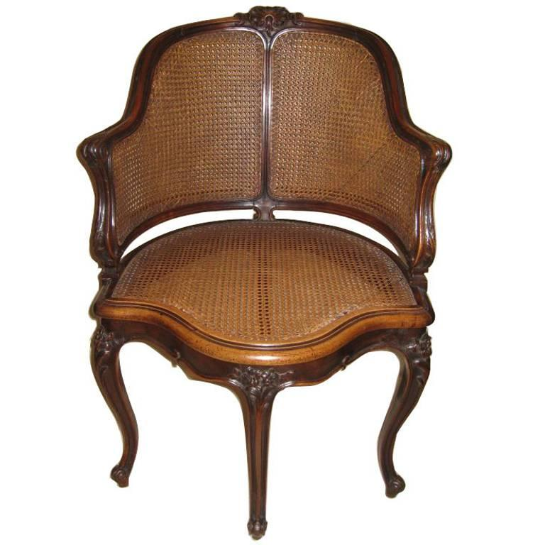 Louis XV Style Walnut and Caned French Provincial Bergere For Sale