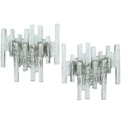 Pair of Large Glass Icicle Sconces by Kalmar