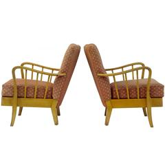 Pair of 1950s 20th Century Birch Easy Armchairs